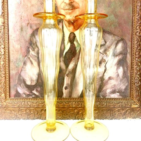 Set of Vintage Bohemian Glass Candlesticks